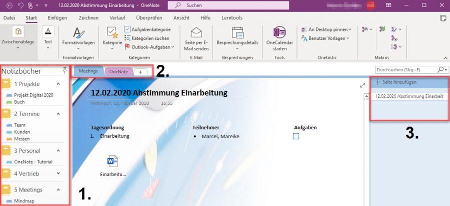 Abbildung 2: OneNote Notizbuch löschen – Der Aufbau eines Notizbuches im Detail