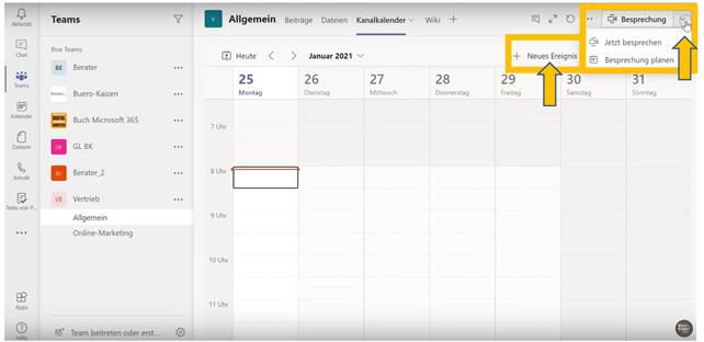 Anleitung für den Gruppen-Kanalkalender in Microsoft Teams - Bild 2