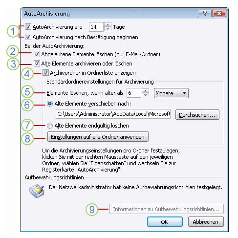 Autoarchivierung Outlook