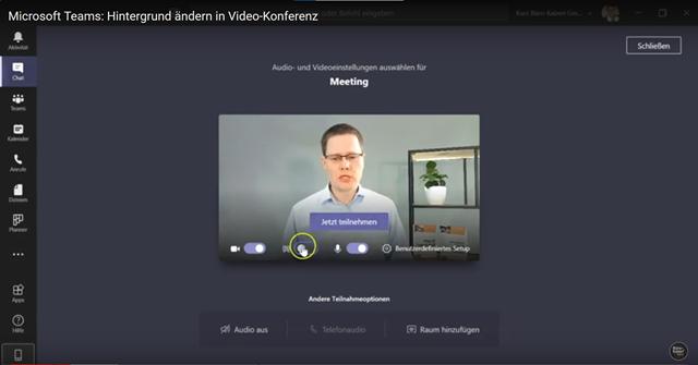 Den Hintergrund in Teams-Videos ändern