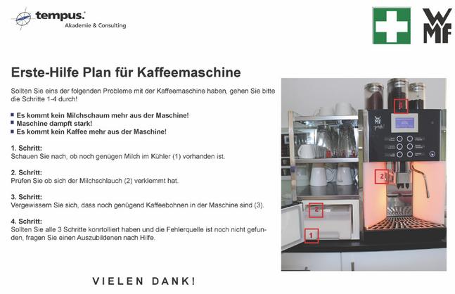 Erste-Hilfe Plan für Kaffeemaschine