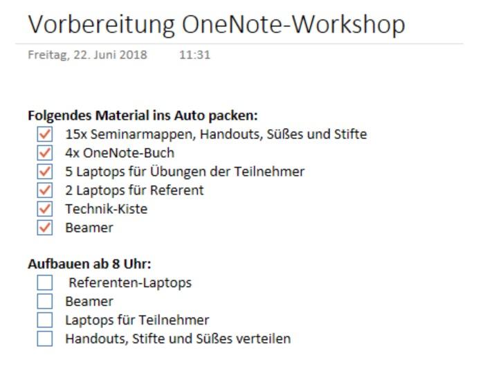 Checklisten in OneNote erstellen