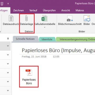 Das Anfügen einer Dateianlage in OneNote (Button-Lösung)
