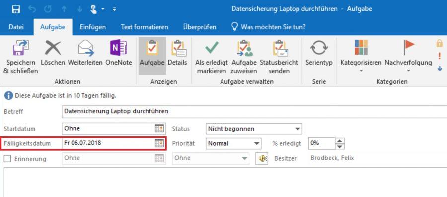 Das Einstellen des Fälligkeitsdatums bei einer Outlook-Aufgabe