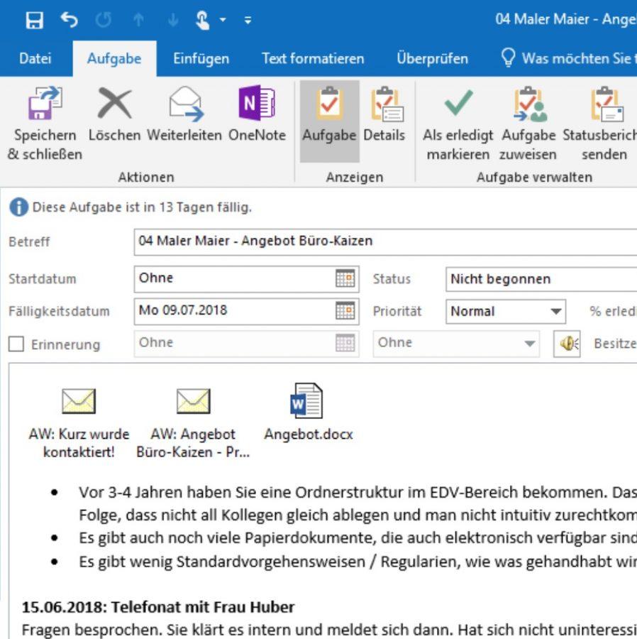 Das Text- und Notizfeld für die Aufgabendetails oder die Dokumentation