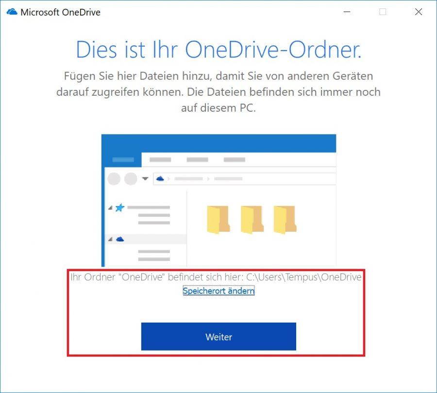 Den Speicherort in OneDrive ändern