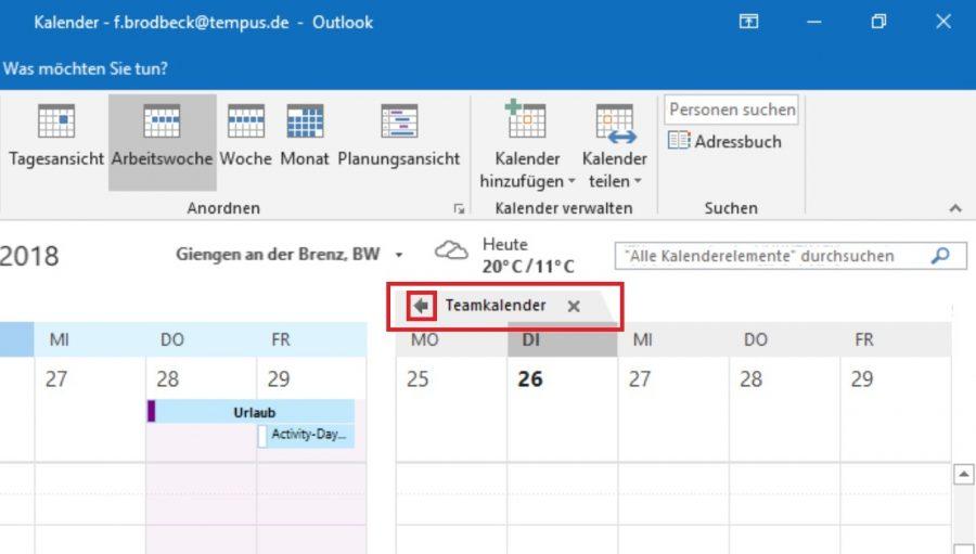 Den Teamkalender in Outlook überlagert anzeigen lassen