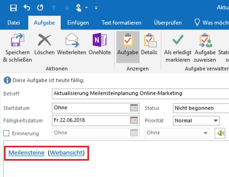 Der zweiteilige OneNote-Link in den Outlook-Aufgaben