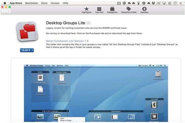 Desktop Ordner clustern
