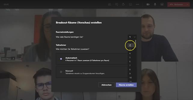 Die Breakout-Room Gruppenräume in Microsoft Teams - Anleitung Bild 3