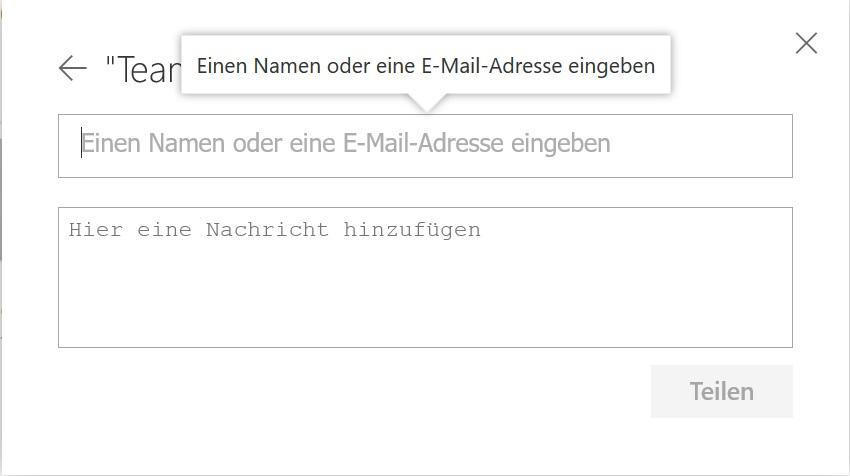 Die Freigabeeinladung in OneDrive per E-Mail versenden