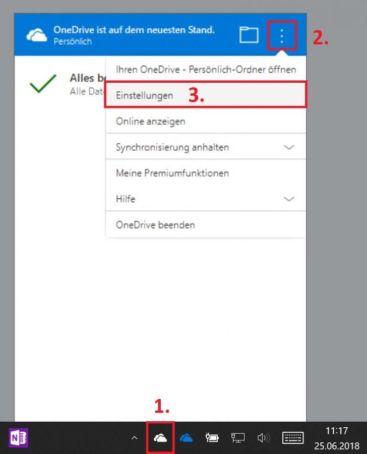 Die OneDrive-Einstellungen in der Desktop-Version