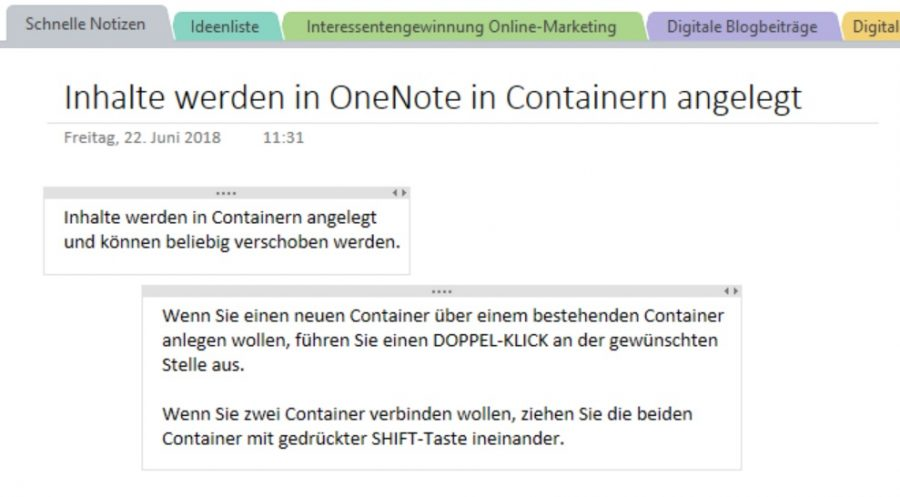 Die Text-Container in OneNote