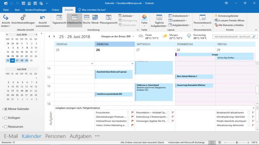 Die kombinierte Termin-Aufgaben-Ansicht in Outlook