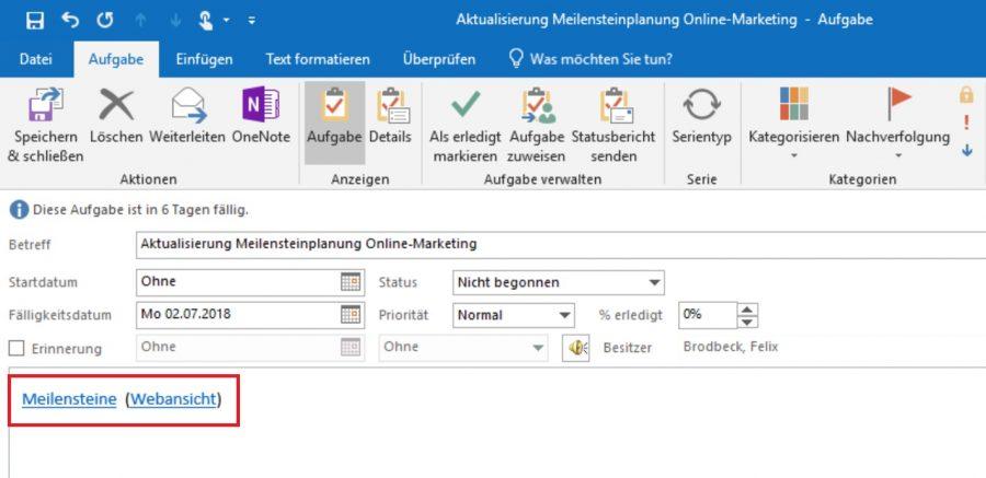 Ein OneNote-Link im Notizfeld einer Outlook-Aufgabe