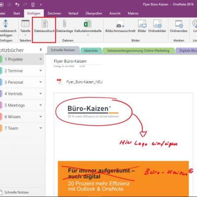 Ein PDF-ähnlicher Dateiausdruck in OneNote mit (handschriftlichen) Kommentaren