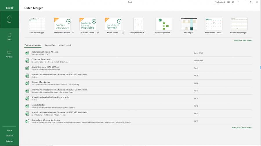 Microsoft Excel 2019 beim Start