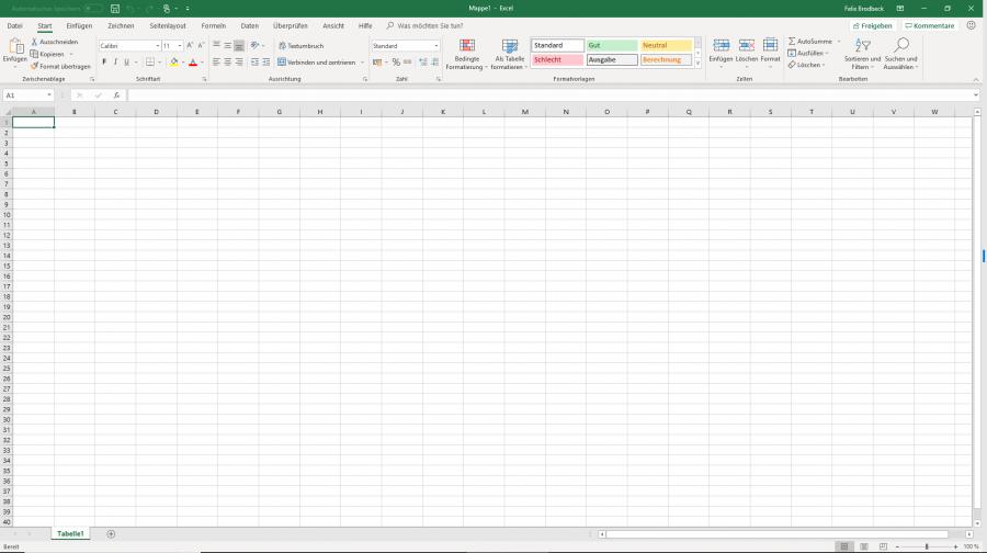 Die Oberfläche von Microsoft Excel 2019
