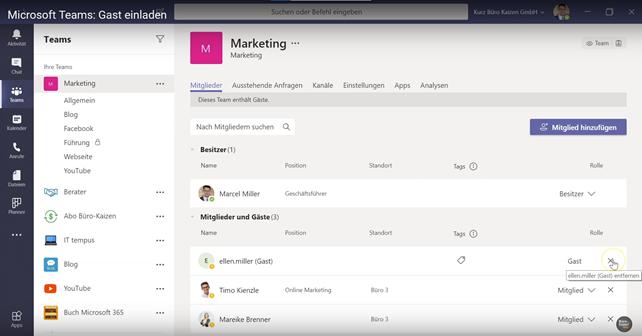 Gastzugriff in Microsoft Teams - Gast einladen und hinzufügen - Anleitung Bild 4