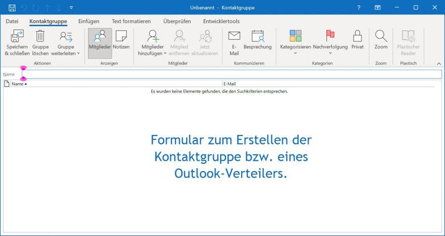 Outlook-Verteiler: Das Kontaktgruppen-Formular bietet zahlreiche Befehle