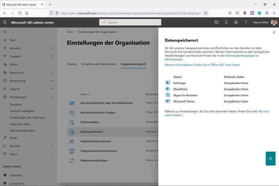 Im Microsoft 365 Admin-Center erfahren Sie, wo Ihre Daten gespeichert sind.