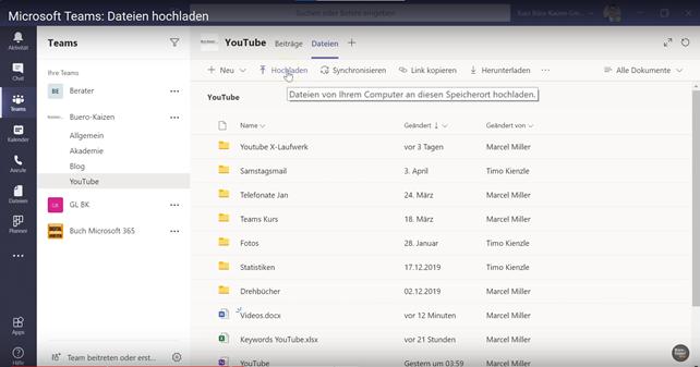 Microsoft Teams Dateien hochladen - Anleitung Bild 1