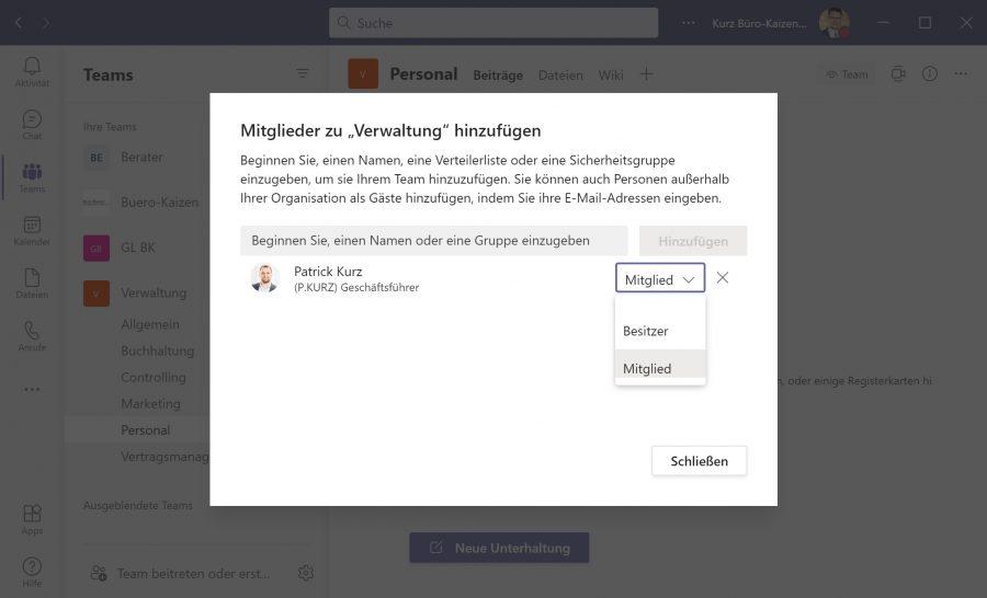Microsoft Teams Benutzer können 3 verschiedenen Berechtigungs-Stufen zugeordnet werden: Besitzer, Mitglied und Gast