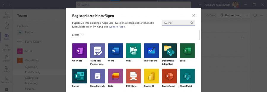 """In Microsoft Teams können viele zusätzliche Programme und Funktionen über """"Registerkarte hinzufügen"""" eingebunden werden."""
