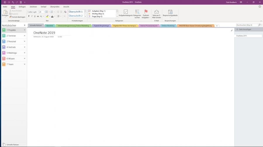 """Auch das """"alte"""" OneNote bekommt mit Office 2019 eine neue Oberfläche"""