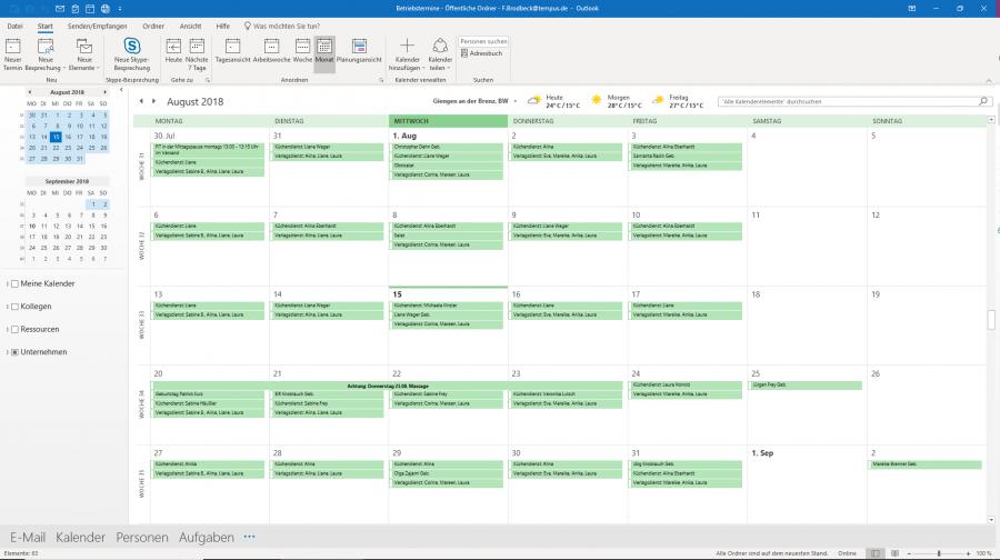 Der Kalender in Microsoft Outlook 2019