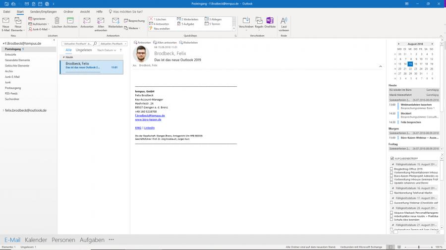Der Posteingang in Microsoft Outlook 2019
