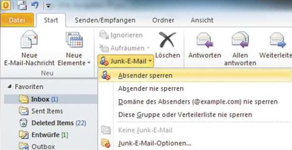 Outlook Spamfilter Einstellungsoptionen