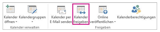 Outlook Kalender freigeben