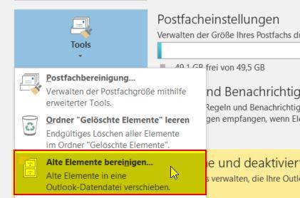 Mails in Outlook archivieren