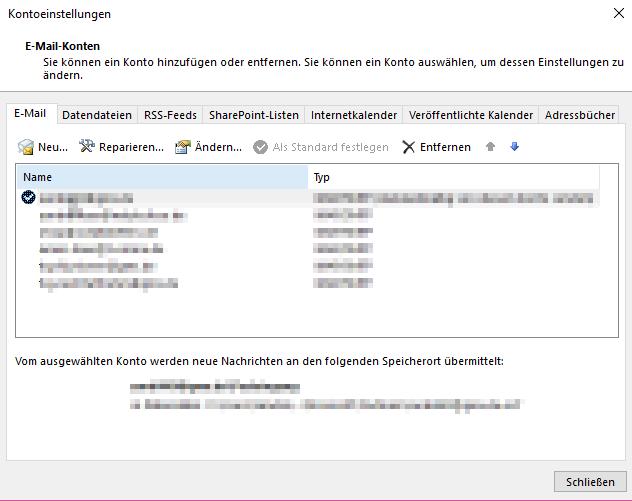 Outlook synchronisieren Kontoeinstellungen