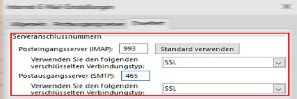 Outlook einrichten bei Serveranschlussnummern.