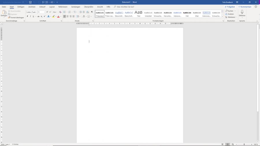 Die Oberfläche von Microsoft Word 2019