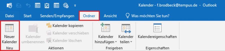 Zuerst einen neuen Kalender in Outlook erstellen