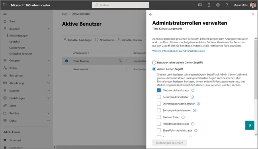 Im Microsoft 365 Admin Center können Sie für die verschiedensten Aufgaben eigens zuständige Administratoren mit unterschiedlichen Berechtigungen auswählen.