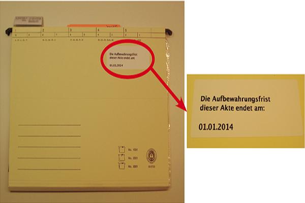 Tipp: Vermerken Sie das Ende der Aufbewahrungsfrist auf jeder Akte. Das Erleichtert das spätere Dokumente entsorgen.