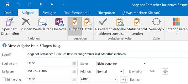 Aufgabe suchen mit Outlook deligieren