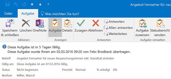 Aufgaben deligieren Outlook absagen zusagen