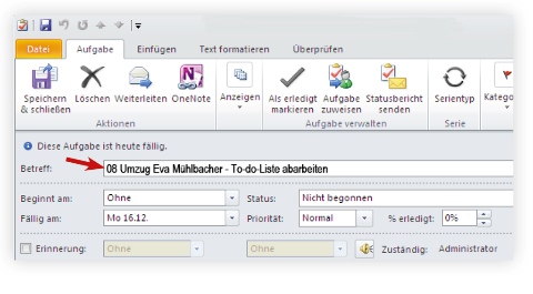 Aufgabenplaner elektronisch mit Outlook steuern