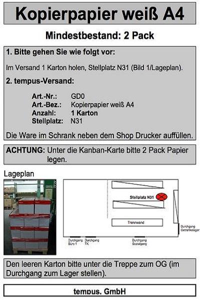 Muster einer Kanbankarte bei der tempus GmbH