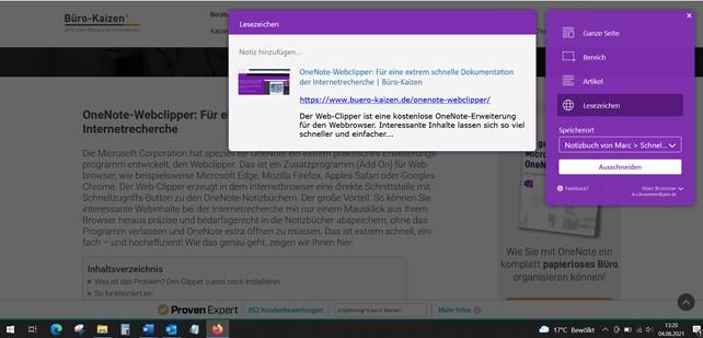 Für ein sehr vielseitiges Anfertigen und effizientes Verwalten der Bildschirmfotos eignet sich auch der OneNote Web-Clipper ganz hervorragend.