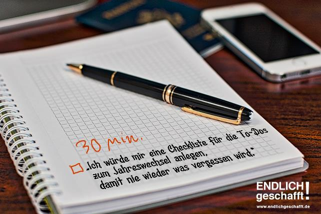 Checkliste für Neujahrsvorsätze anlegen