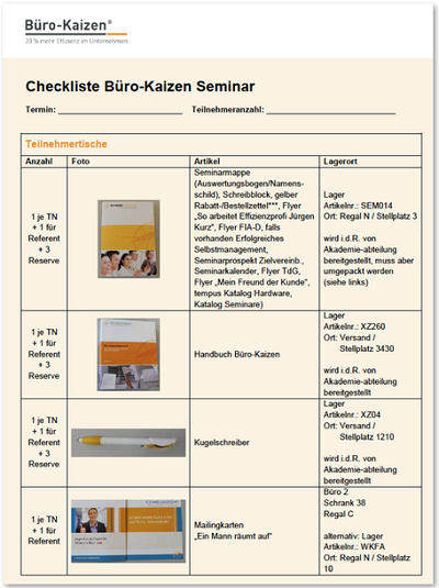 checkliste für vortrag oder seminar