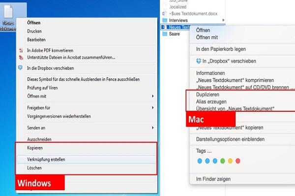 Datei-Verknüpfungen gegen doppelte Dateien