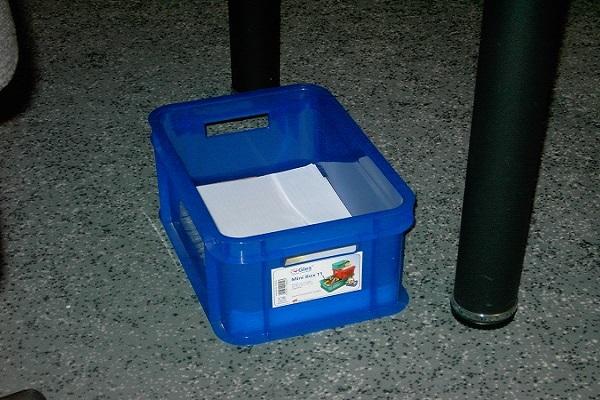 Die Papierkiste ist ein praktisches Hilfsmittel beim Dokumente entsorgen.