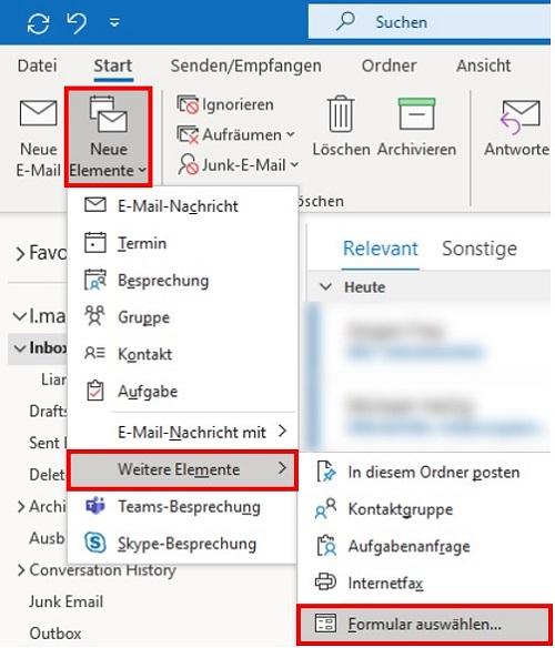 Bestehende E-Mail-Vorlagen in Outlook auswählen.